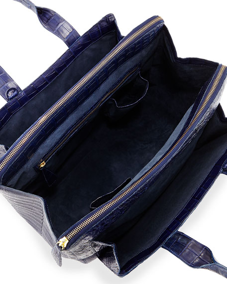 Large Crocodile Zip Tote Bag, Navy