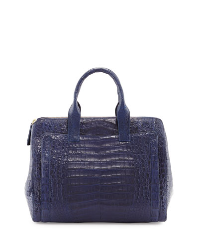 Nancy Gonzalez Large Crocodile Zip Tote Bag, Navy