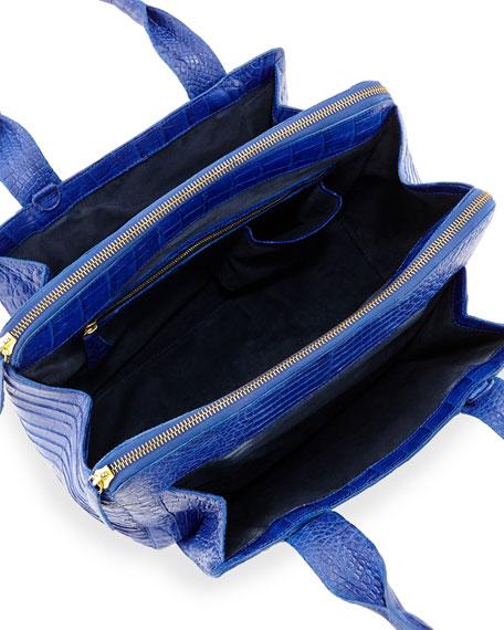 Medium Crocodile Zip Tote Bag, Cobalt