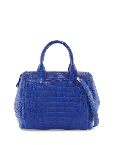 Medium Crocodile Zip Tote Bag, Cobalt