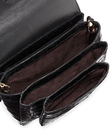 Crocodile Chain-Strap Shoulder Bag, Black