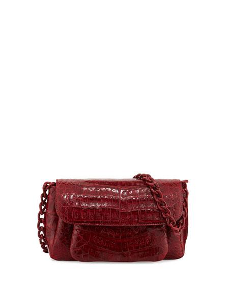 Crocodile Chain-Strap Shoulder Bag, Red