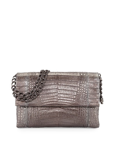 Crocodile Large Flap Shoulder Bag, Anthracite