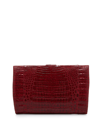 Crocodile Large Framed Clutch with Chain, Red