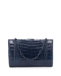 Nancy Gonzalez Crocodile Large Framed Clutch with Chain, Navy
