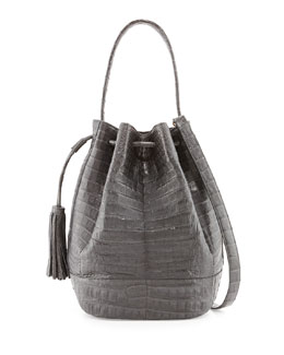 Nancy Gonzalez Medium Crocodile Tassel Bucket Bag, Charcoal