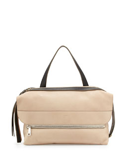 Chloe Dalston Leather Shoulder Bag, Beige/Black