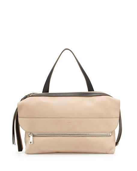 Dalston Leather Shoulder Bag, Beige/Black
