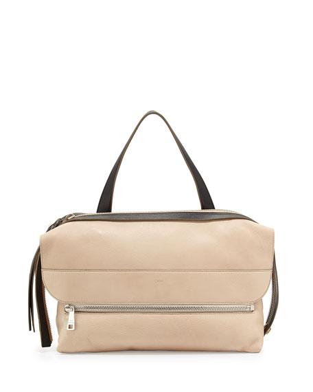 Dalston Leather Shoulder Bag, Beige/Black