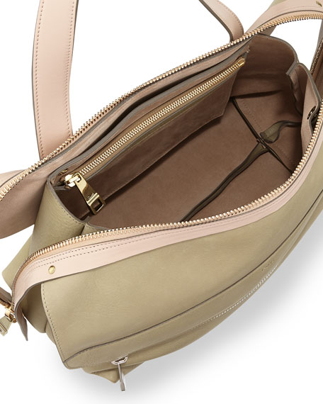 Dalston Medium Deerskin Shoulder Bag, Green/Beige