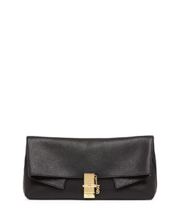 Chloe Drew Folded Leather Clutch Bag, Black