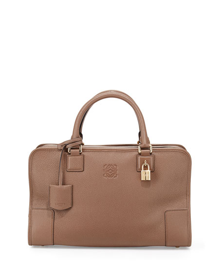 Loewe Amazona Leather Satchel Bag, Dark Brown
