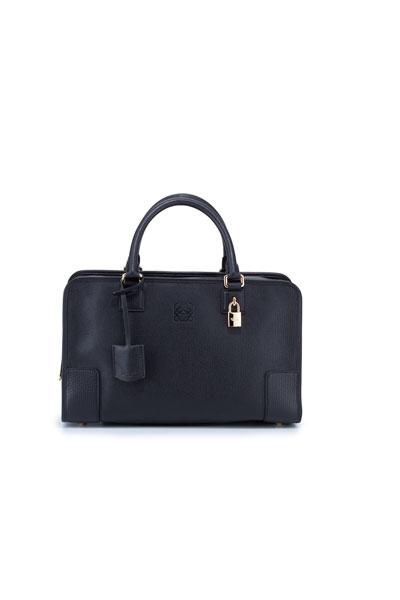 Loewe Amazona Leather Satchel Bag, Black