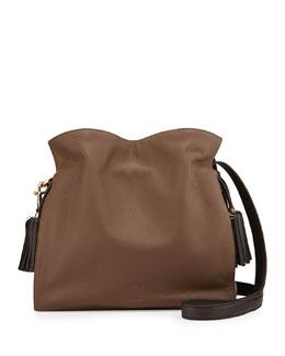 Loewe Flamenco 30 Calfskin Drawstring Bag, Dark Brown