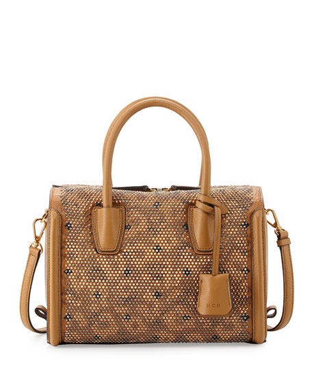 Balam Spitze Studded Boston Bag, Cognac