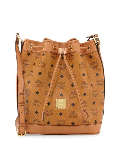 Heritage Visetos Drawstring Bag, Cognac