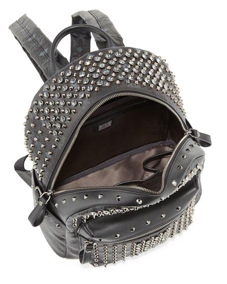 Diamond Visetos Small Backpack, Black
