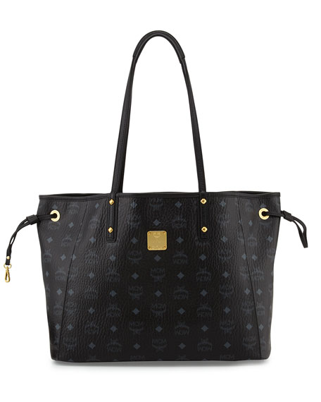 Shopper Project Reversible Tote Bag with Pouch, Black/Jaguar