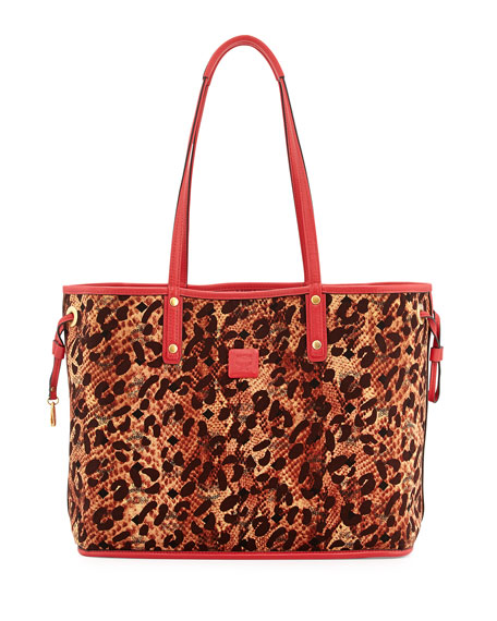 Shopper Project Reversible Logo-Print Shopper Bag, Red/Jaguar Brown