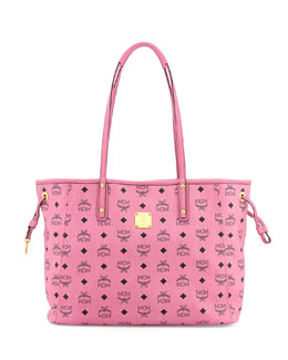 MCM Shopper Project Reversible Logo-Print Shopper Bag, Pink/Jaguar Gray