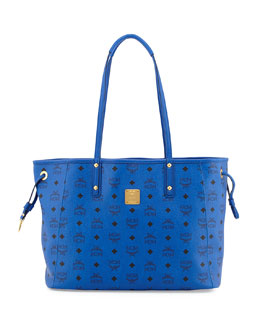 MCM Shopper Project Reversible Logo-Print Shopper Bag, Blue/Jaguar Gray