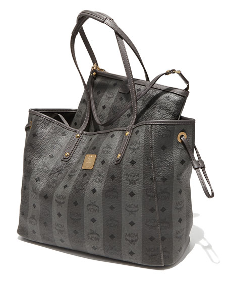 Shopper Project Reversible Tote Bag, Gray Stripe
