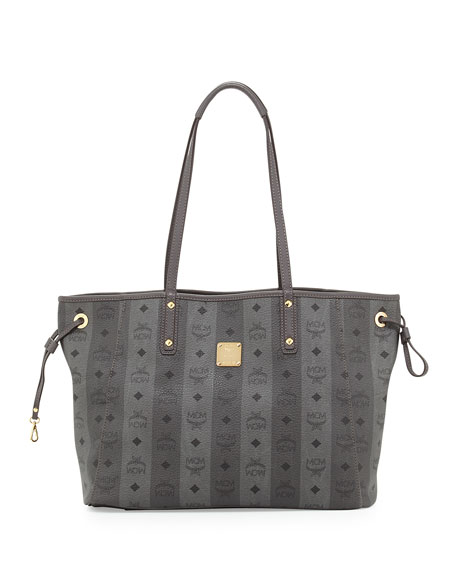 MCM Shopper Project Reversible Tote Bag, Gray Stripe