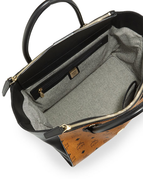 Christina Visetos Zip Satchel Bag, Cognac/Black