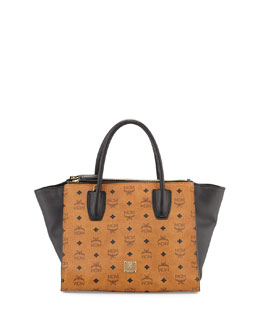 MCM Christina Visetos Zip Satchel Bag, Cognac/Black