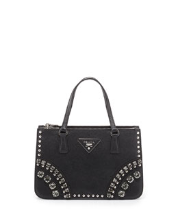 Prada Saffiano Tote Bag with Studs and Stones, Black (Nero)