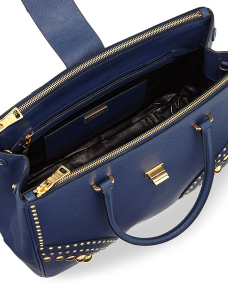 Saffiano Tote Bag with Metal Studs, Blue (Bluette)