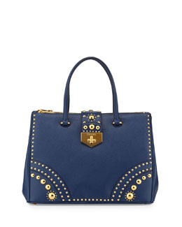 Prada Saffiano Tote Bag with Metal Studs, Blue (Bluette)