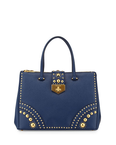 Prada Saffiano Tote Bag with Metal Studs, Blue (Bluette)