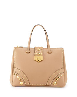 Prada Saffiano Tote Bag with Metal Studs, Sand (Sabbia)