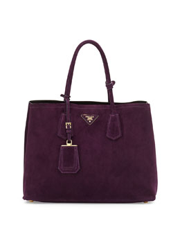 Prada Suede Double Bag, Dark Purple (Prugna)