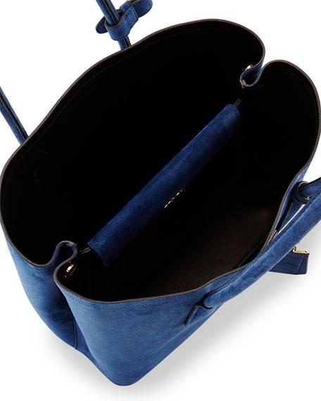 Prada Suede Medium Double Bag, Navy (Baltico)
