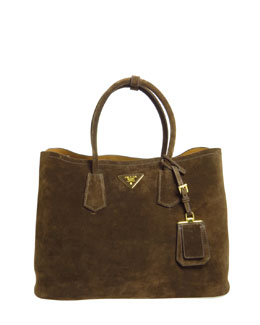 Prada Suede Double Bag, Dark Brown (Mogano)