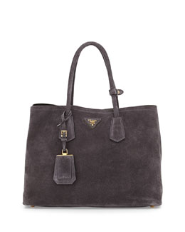 Prada Suede Double Bag, Charcoal (Ematite)