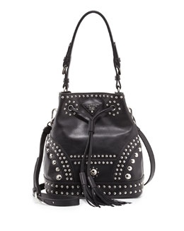 Prada Soft Calf Studded Small Bucket Bag, Black (Nero)