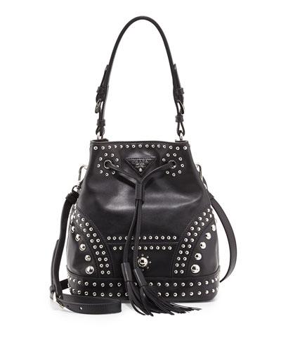 Prada Soft Calf Studded Small Bucket Bag, Black (Nero)