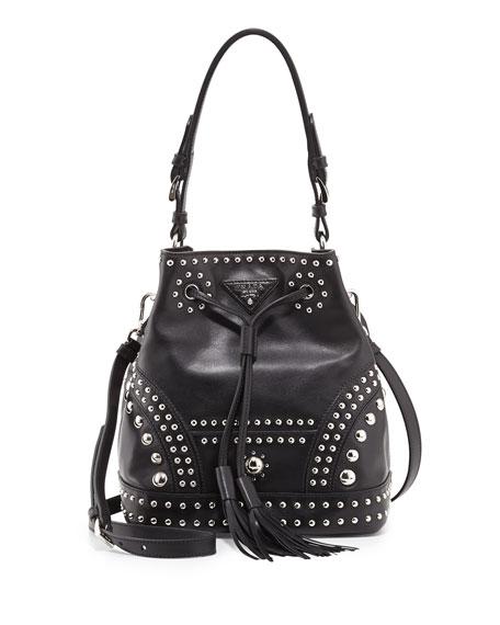 Soft Calf Studded Small Bucket Bag, Black (Nero)