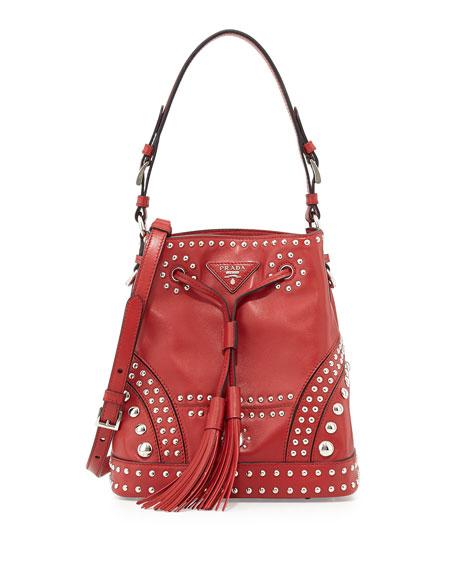 prada bag and wallet - Prada Soft Calf Studded Bucket Bag, Red (Fuoco)