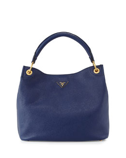 Prada Vitello Daino Single-Strap Hobo Bag, Dark Blue (Inchiostro)