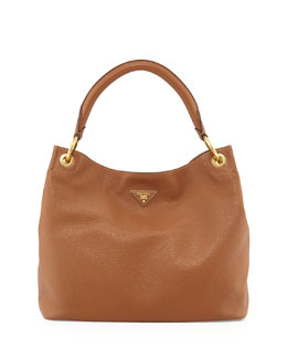 Prada Vitello Daino Single-Strap Hobo Bag, Brown (Brandy)