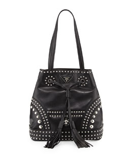 Prada Soft Calf Large Studded Bucket Bag, Black (Nero)