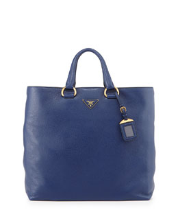 Prada Vitello Daino Tote Bag, Ink Blue (Inchiostro)