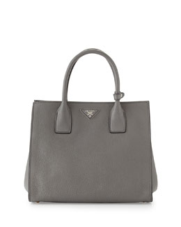 Prada Vitello Daino Tote Bag, Gray (Marmo)