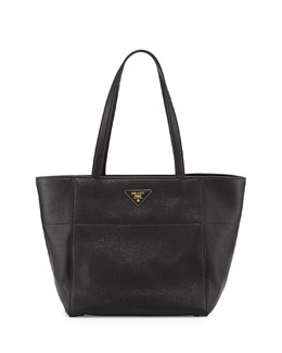 Prada Vitello Daino Shopper, Black (Nero)