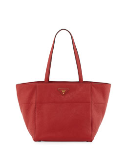 Prada Vitello Daino Shopper, Red (Fuoco)