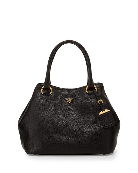 Vitello Daino Satchel Bag with Strap, Black (Nero)